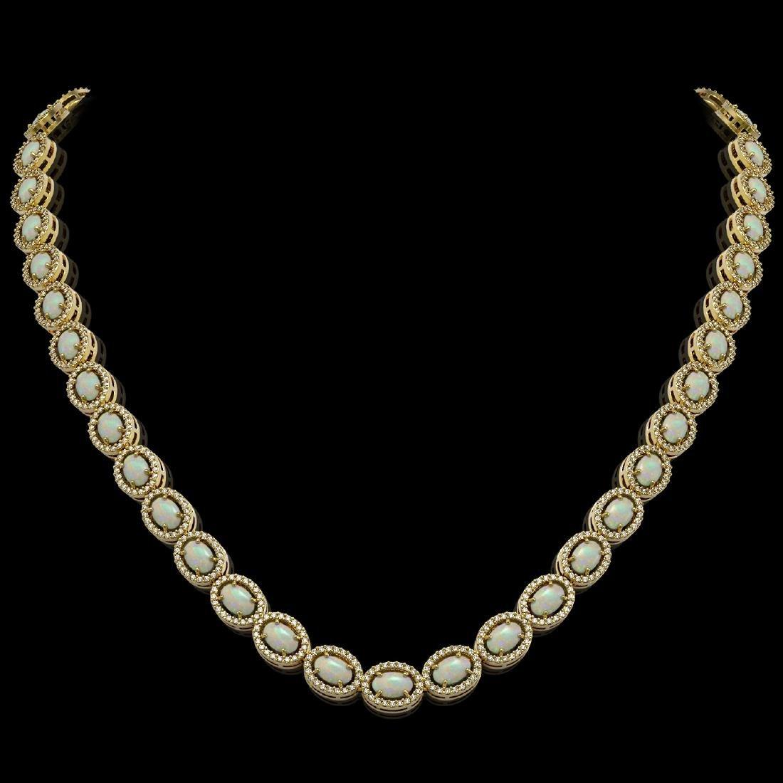 21.21 CTW Opal & Diamond Halo Necklace 10K Yellow Gold