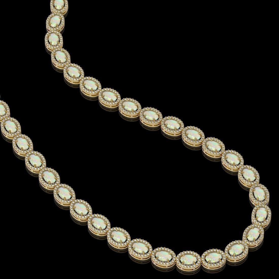 21.21 CTW Opal & Diamond Halo Necklace 10K Yellow Gold - 2