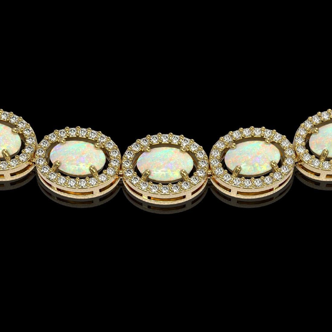 21.21 CTW Opal & Diamond Halo Necklace 10K Yellow Gold - 3