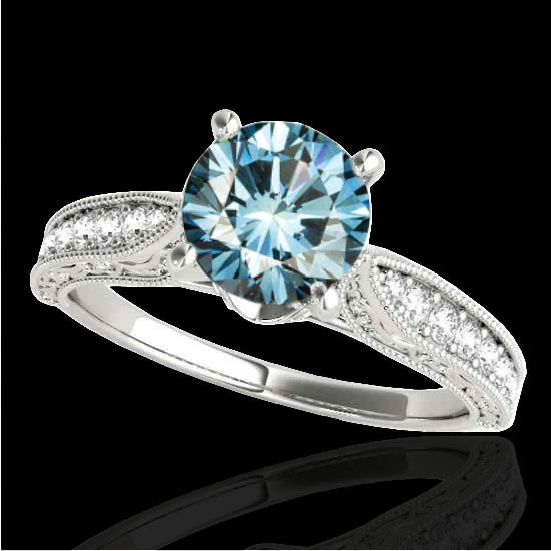 1.21 CTW SI Certified Blue Diamond Solitaire Antique