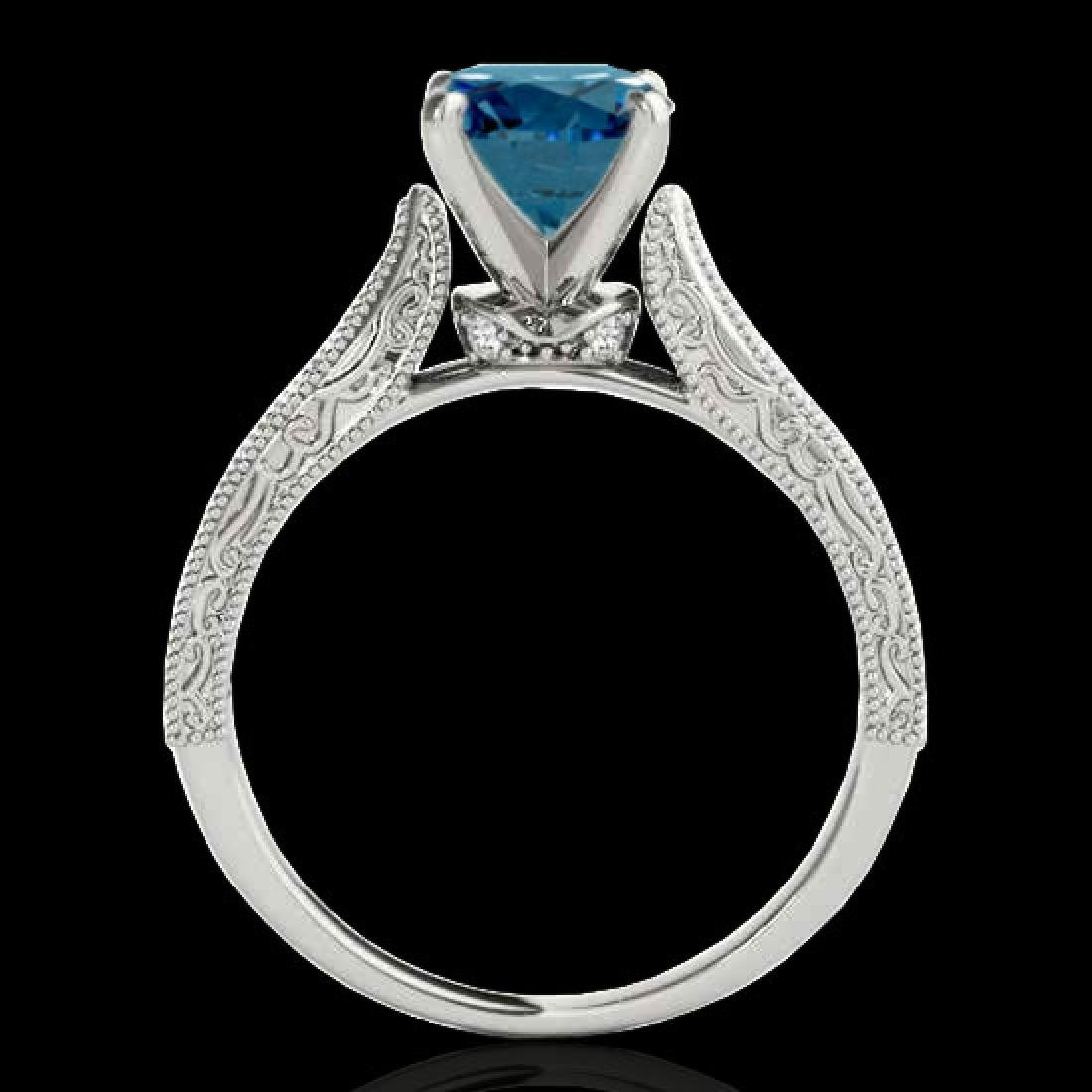 1.21 CTW SI Certified Blue Diamond Solitaire Antique - 2
