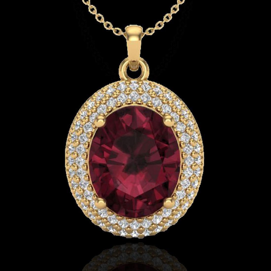 4.50 CTW Garnet & Micro Pave VS/SI Diamond Necklace 18K