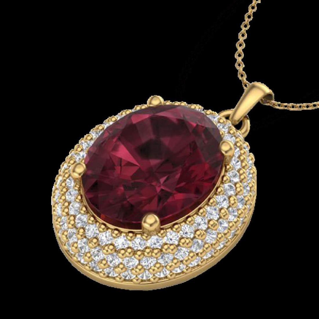 4.50 CTW Garnet & Micro Pave VS/SI Diamond Necklace 18K - 2