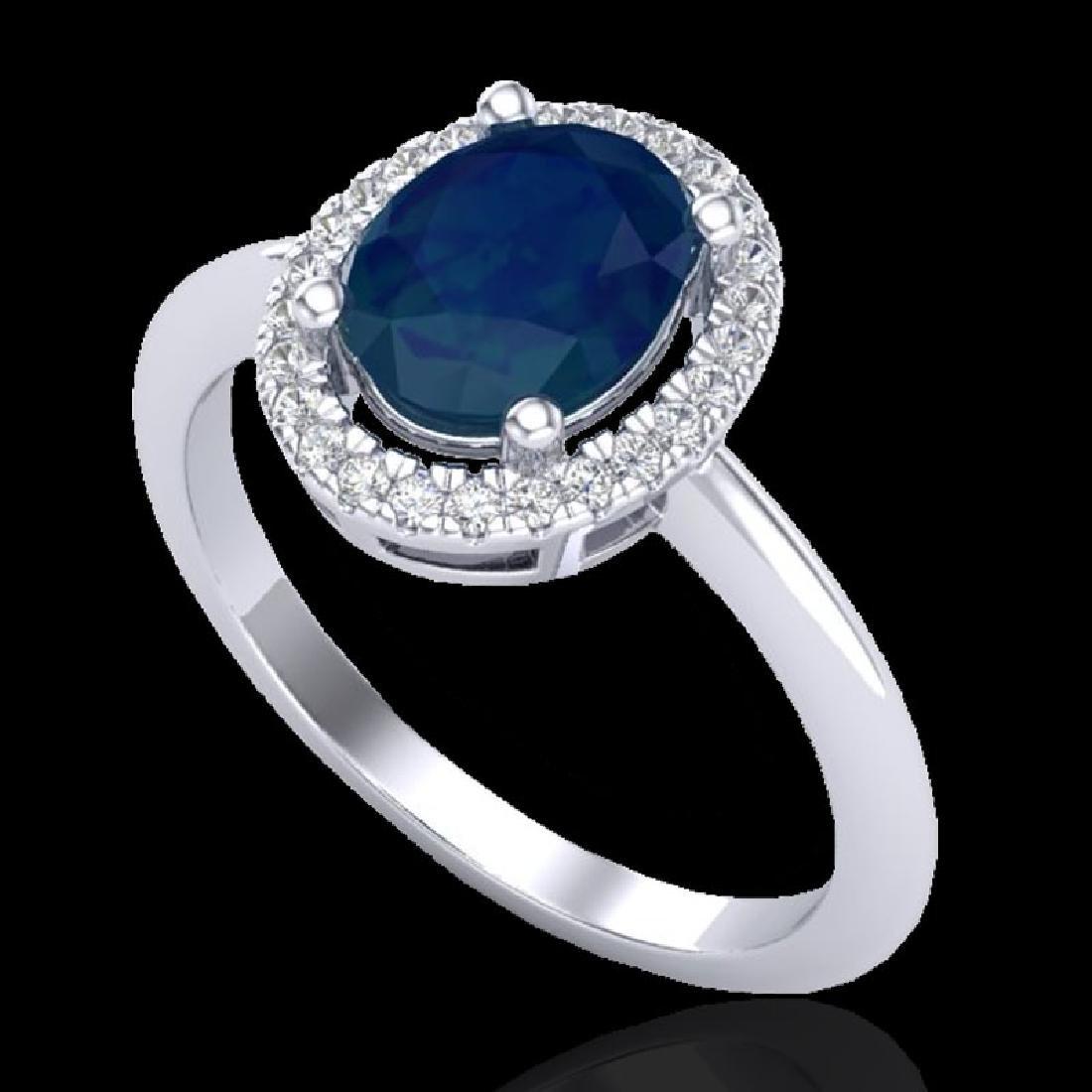 2 CTW Sapphire & Micro Pave VS/SI Diamond Ring - 2