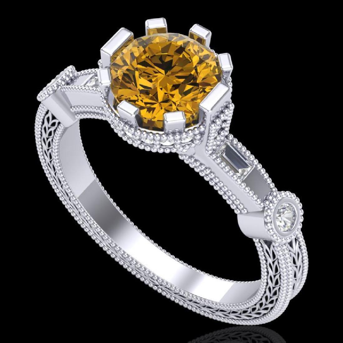 1.71 CTW Intense Fancy Yellow Diamond Engagement Art