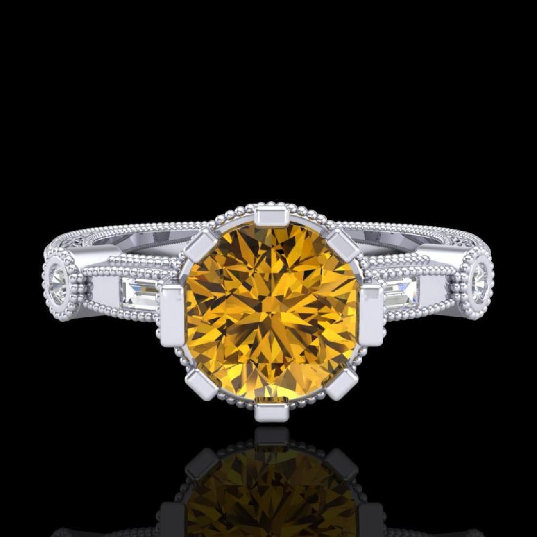 1.71 CTW Intense Fancy Yellow Diamond Engagement Art - 2