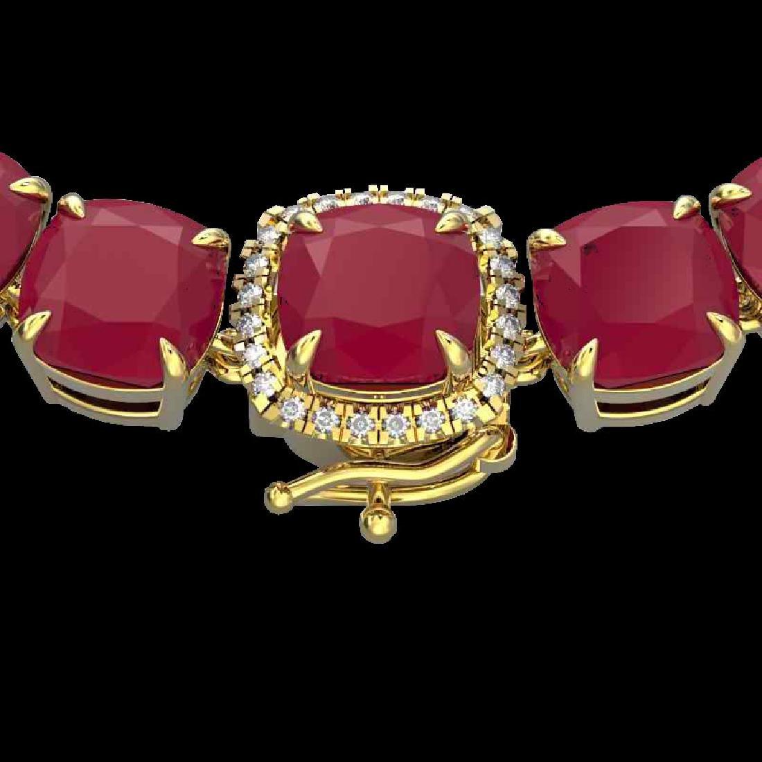 116 CTW Ruby & VS/SI Diamond Halo Micro Pave Necklace
