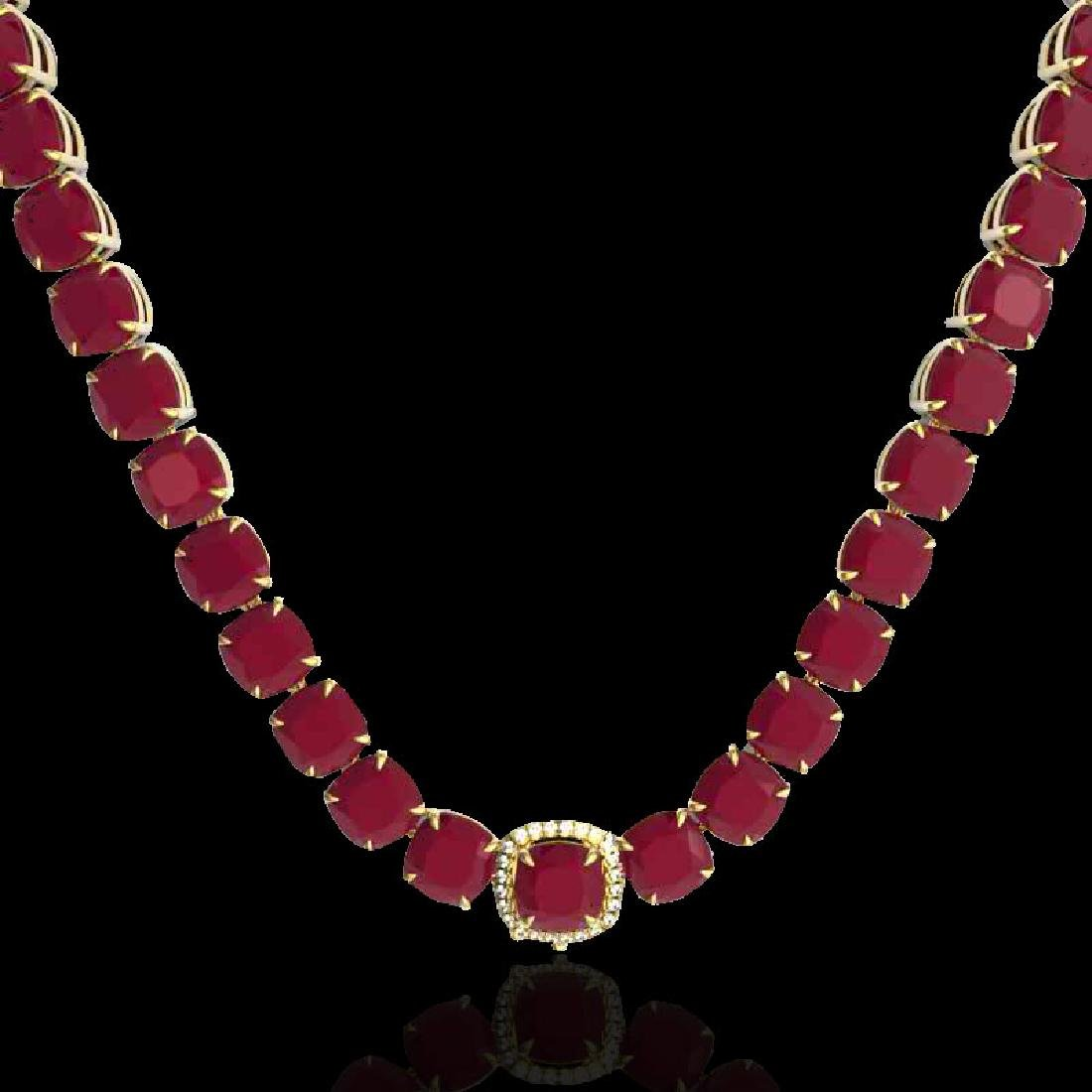 116 CTW Ruby & VS/SI Diamond Halo Micro Pave Necklace - 2