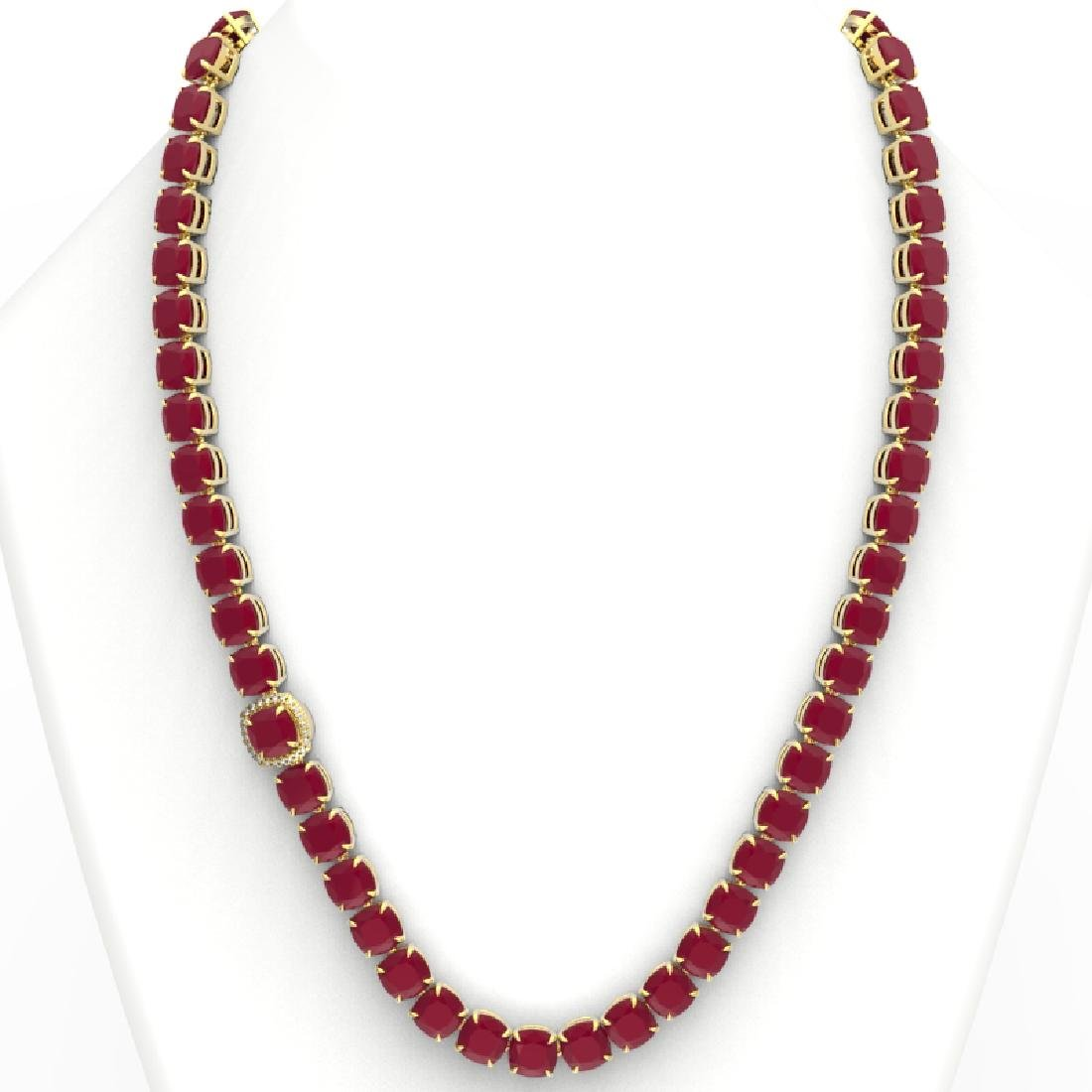 116 CTW Ruby & VS/SI Diamond Halo Micro Pave Necklace - 3