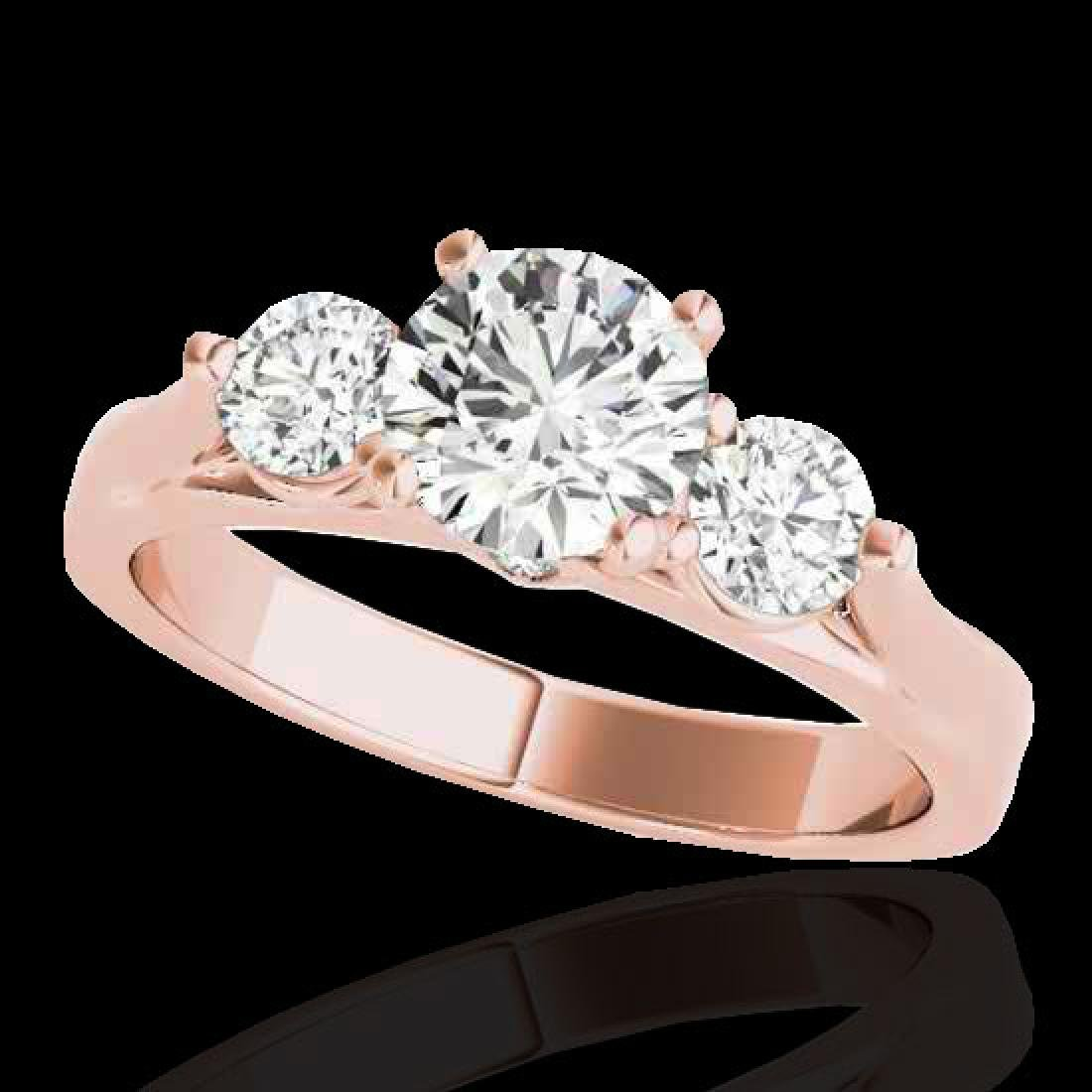 1.75 CTW H-SI/I Certified Diamond 3 Stone Ring 10K Rose