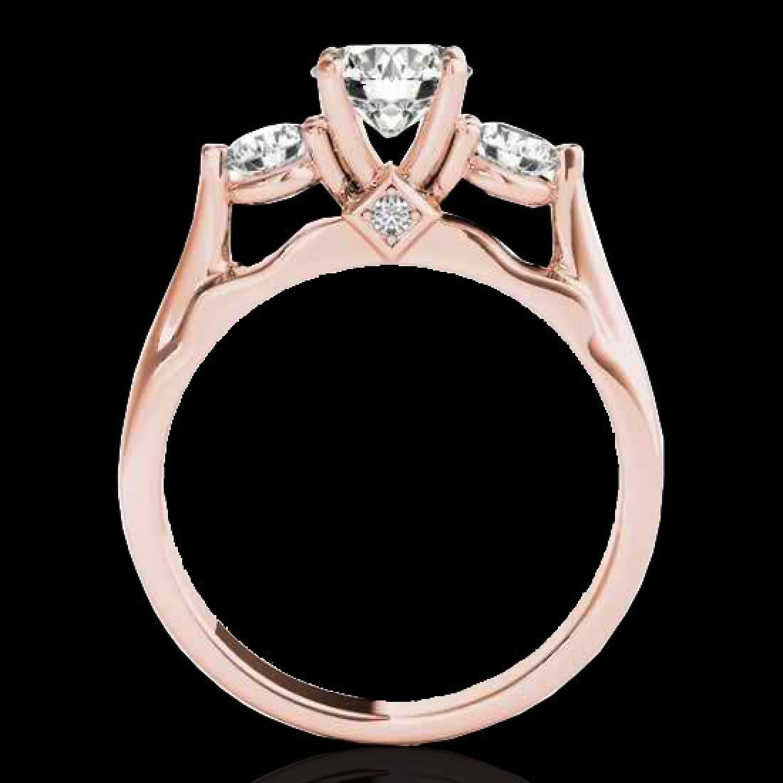 1.75 CTW H-SI/I Certified Diamond 3 Stone Ring 10K Rose - 2