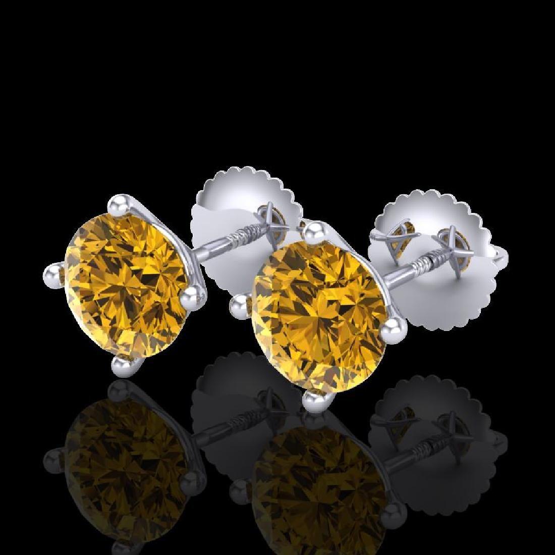 2 CTW Intense Fancy Yellow Diamond Art Deco Stud