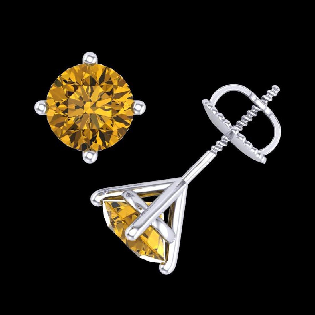 2 CTW Intense Fancy Yellow Diamond Art Deco Stud - 3
