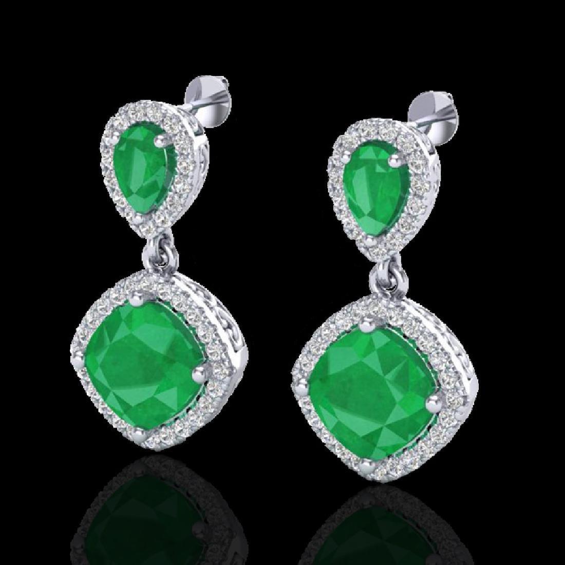 7 CTW Emerald & Micro Pave VS/SI Diamond Earrings