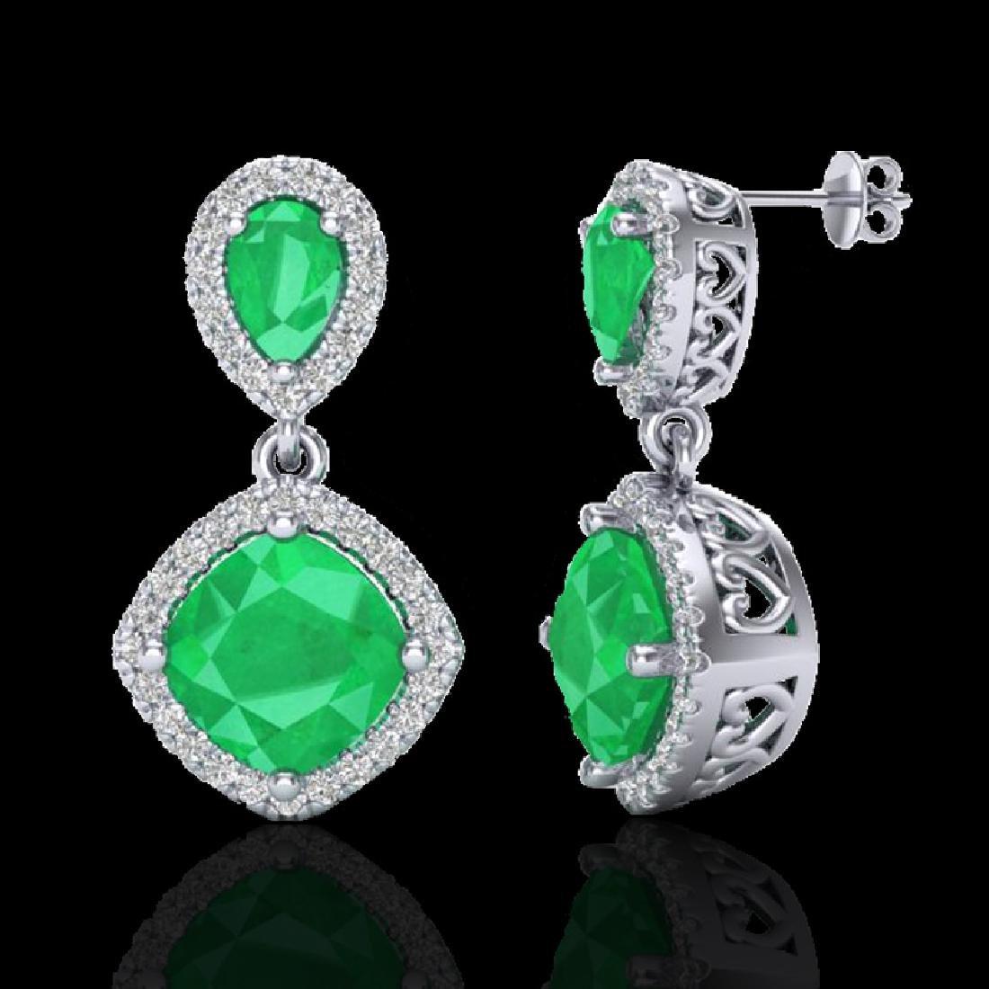 7 CTW Emerald & Micro Pave VS/SI Diamond Earrings - 2