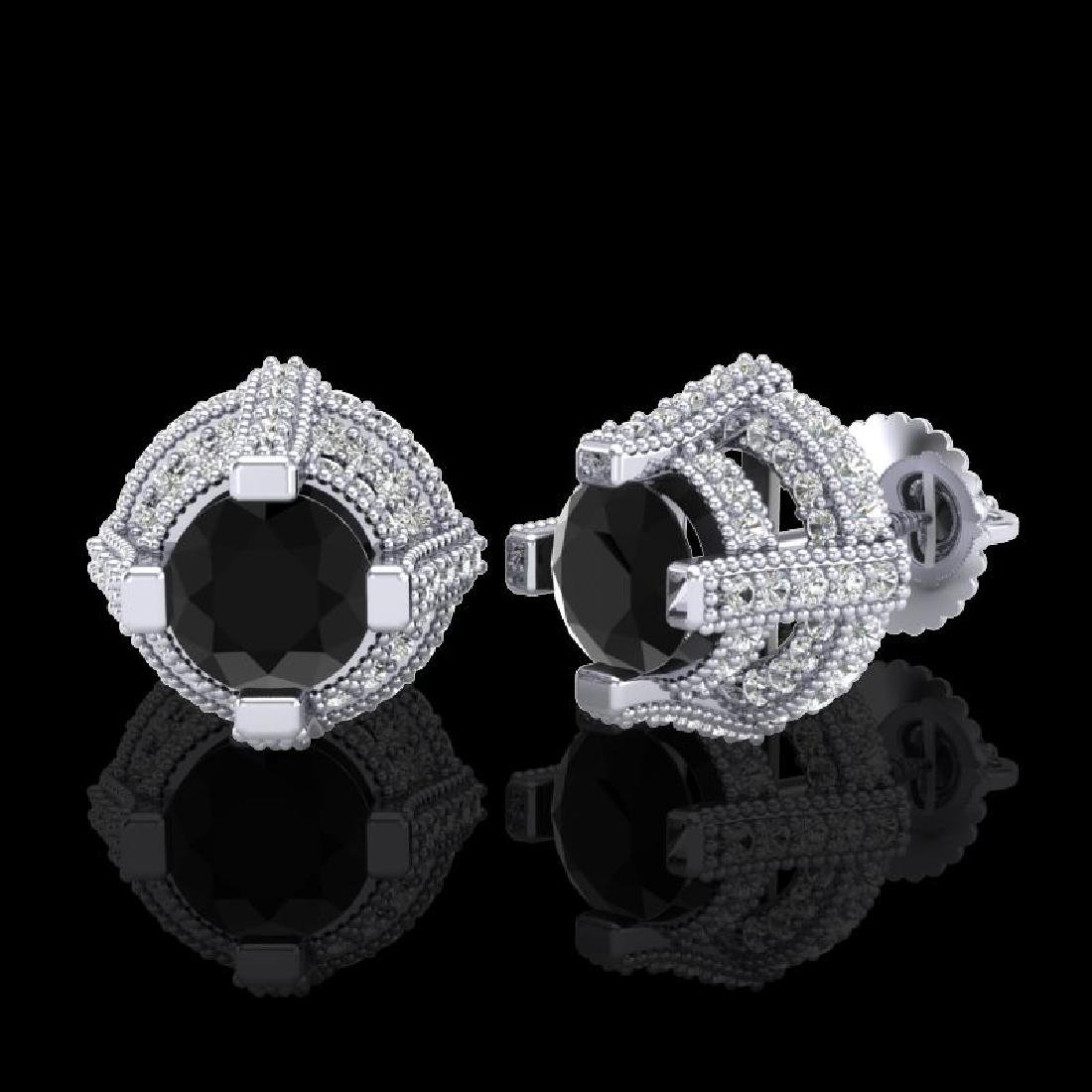 2.75 CTW Fancy Black Diamond Solitaire Micro Pave Stud - 2