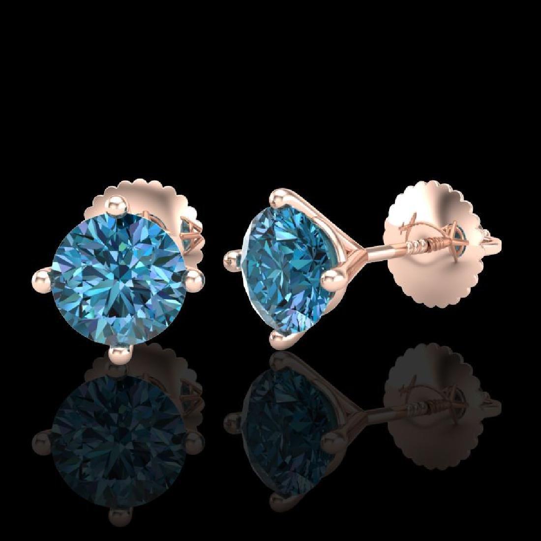 1.5 CTW Fancy Intense Blue Diamond Art Deco Stud - 2