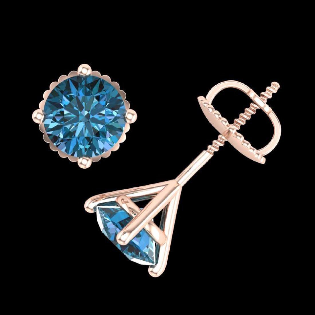 1.5 CTW Fancy Intense Blue Diamond Art Deco Stud - 3