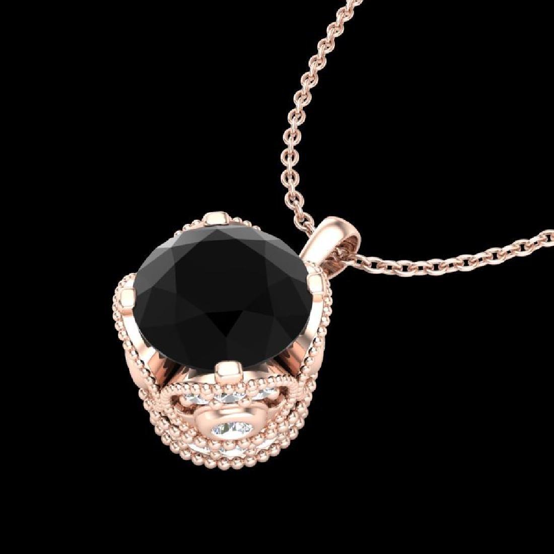 1.13 CTW Fancy Black Diamond Solitaire Art Deco Stud - 2