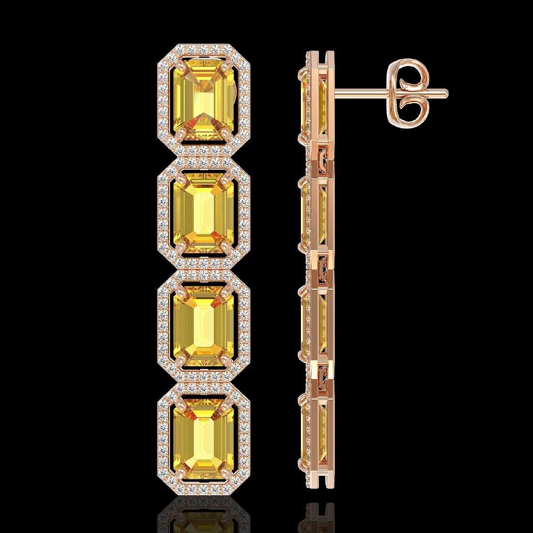 18.64 CTW Fancy Citrine & Diamond Halo Earrings 10K - 2