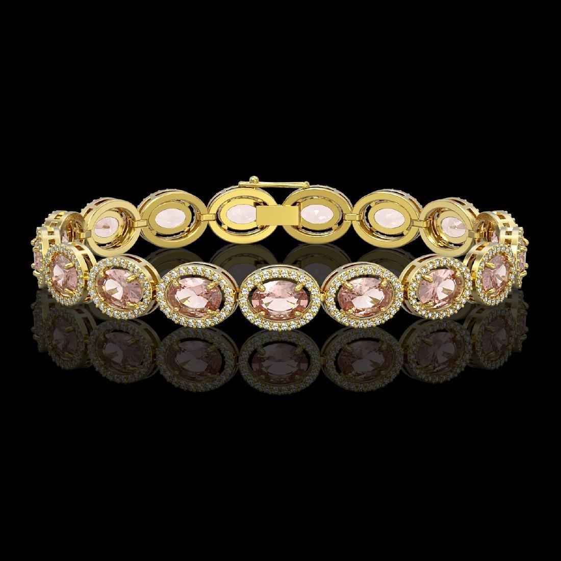20.18 CTW Morganite & Diamond Halo Bracelet 10K Yellow