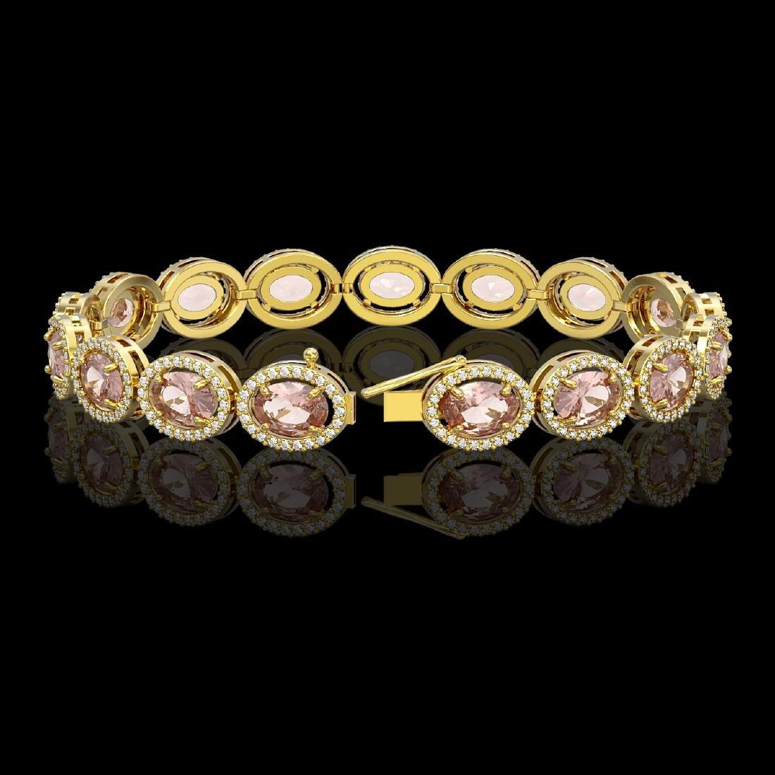 20.18 CTW Morganite & Diamond Halo Bracelet 10K Yellow - 2
