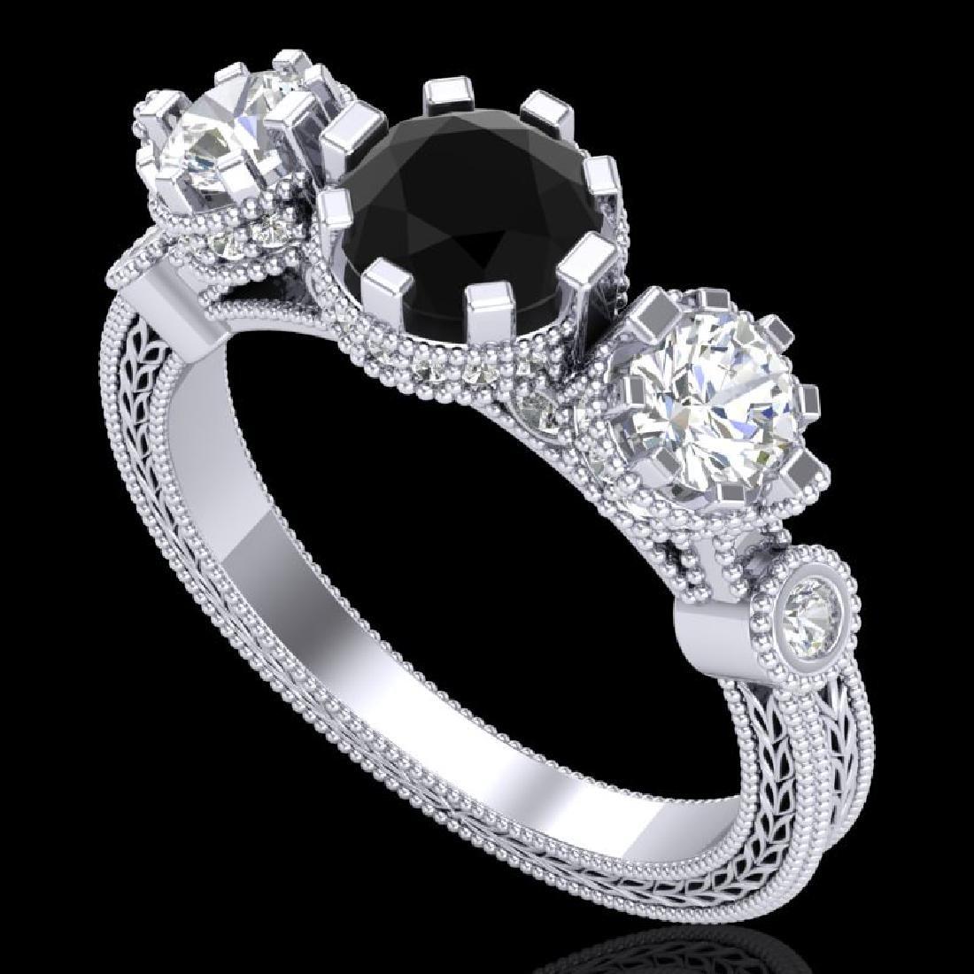 1.75 CTW Fancy Black Diamond Solitaire Art Deco 3 Stone