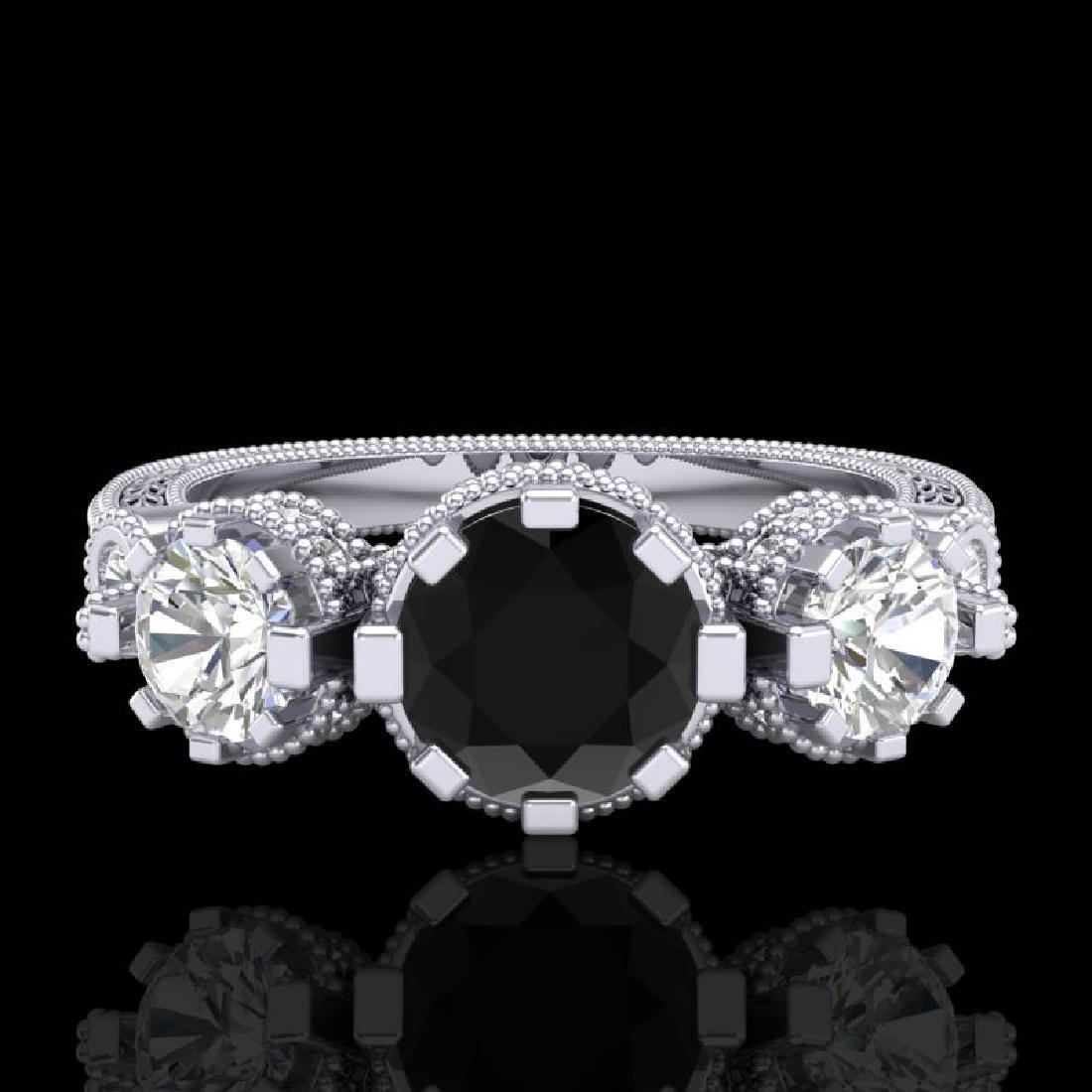 1.75 CTW Fancy Black Diamond Solitaire Art Deco 3 Stone - 2