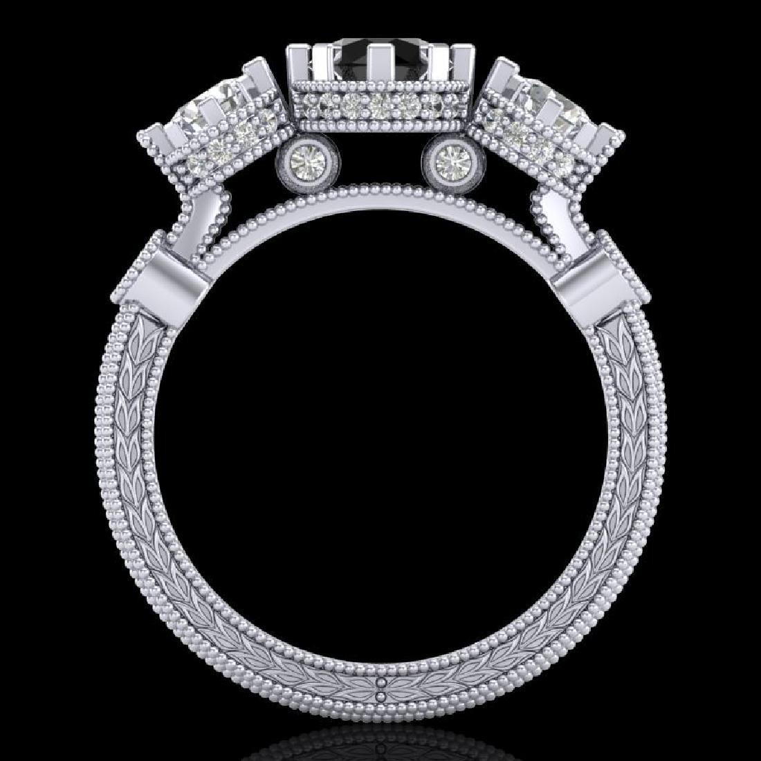 1.75 CTW Fancy Black Diamond Solitaire Art Deco 3 Stone - 3