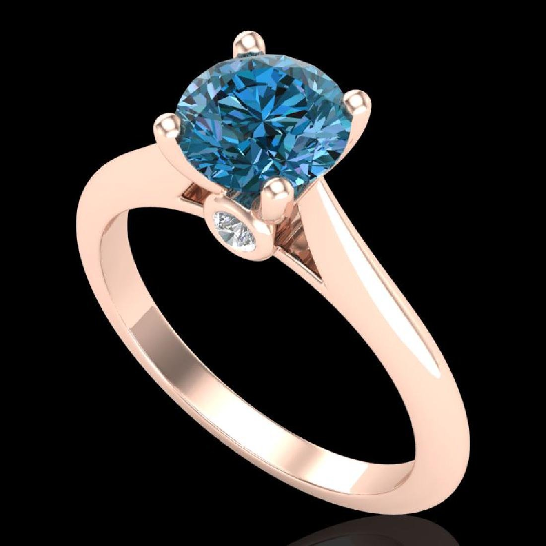 1.36 CTW Fancy Intense Blue Diamond Solitaire Art Deco