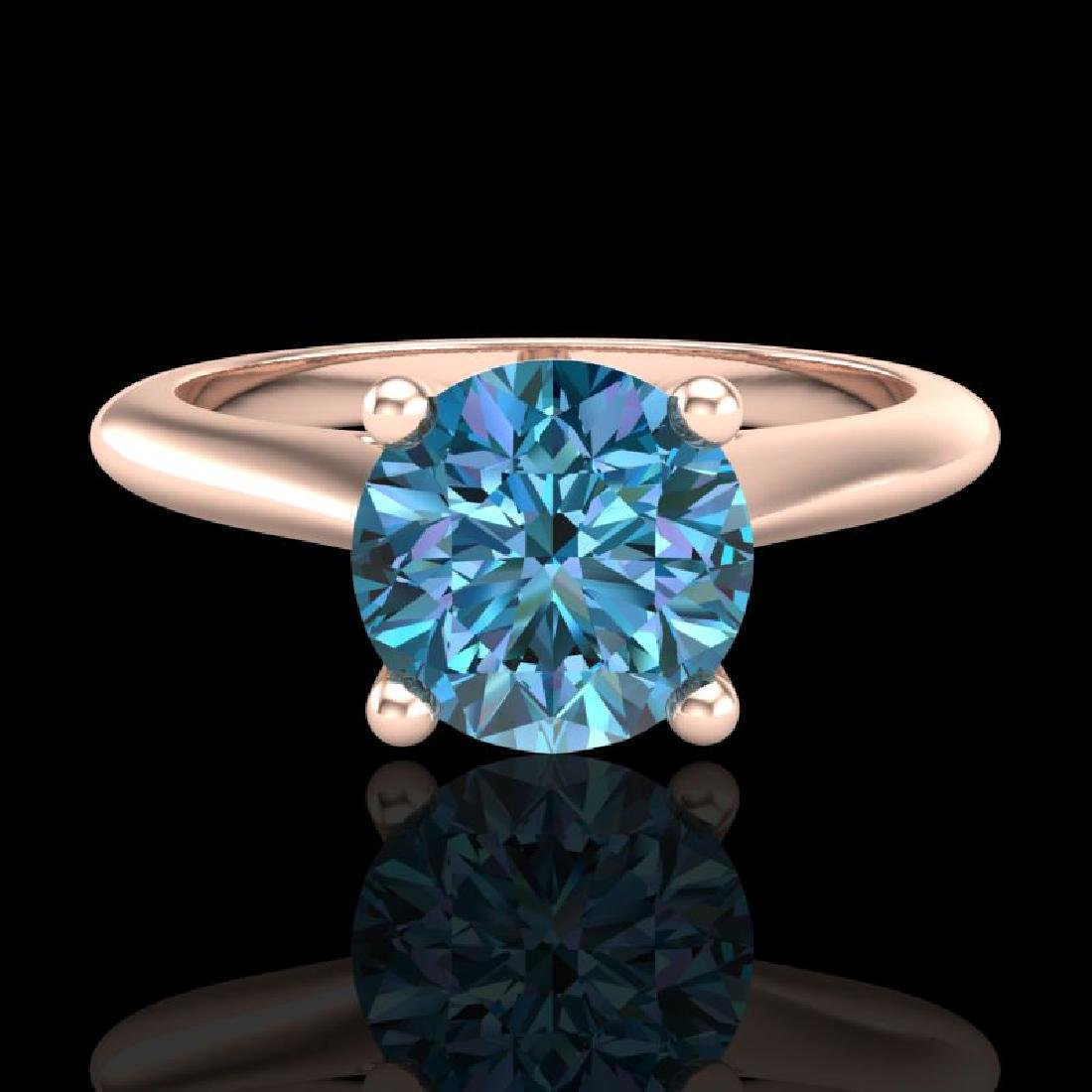1.36 CTW Fancy Intense Blue Diamond Solitaire Art Deco - 2
