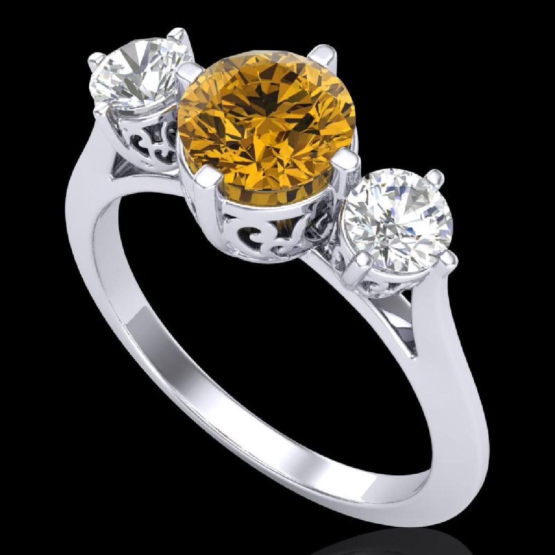 1.51 CTW Intense Fancy Yellow Diamond Art Deco 3 Stone
