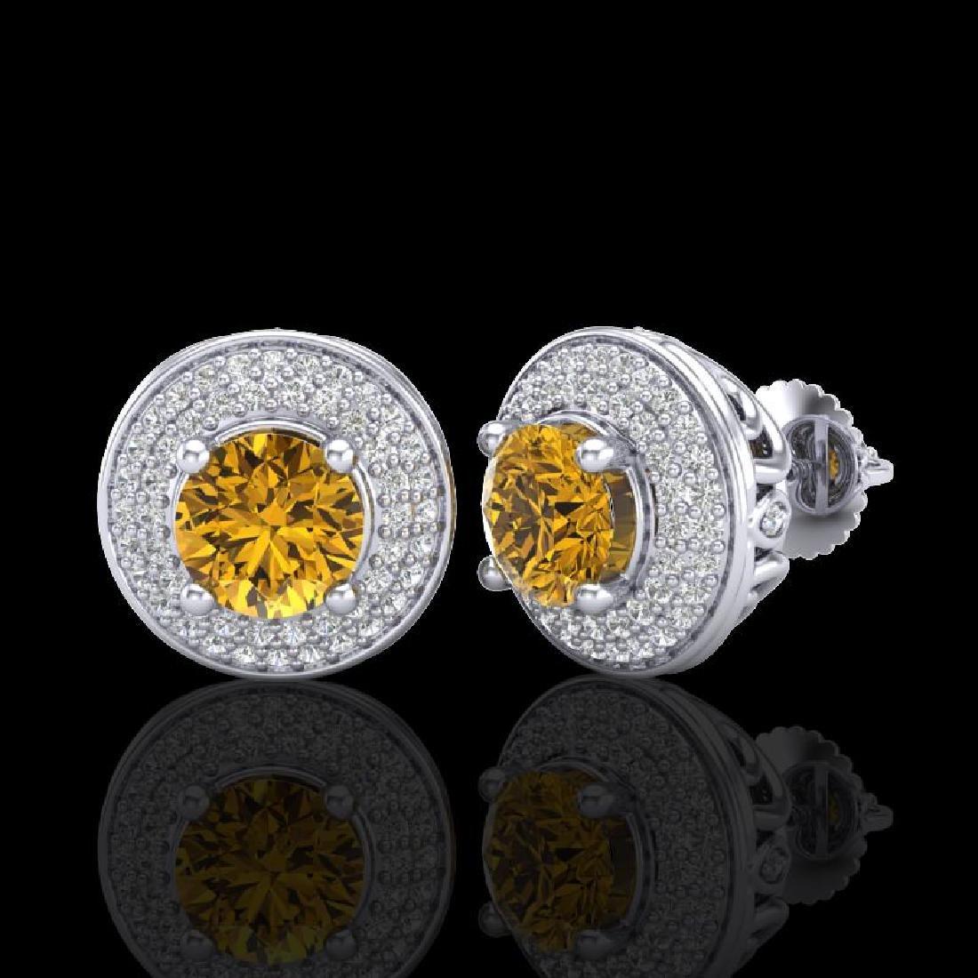 2.35 CTW Intense Fancy Yellow Diamond Art Deco Stud - 2