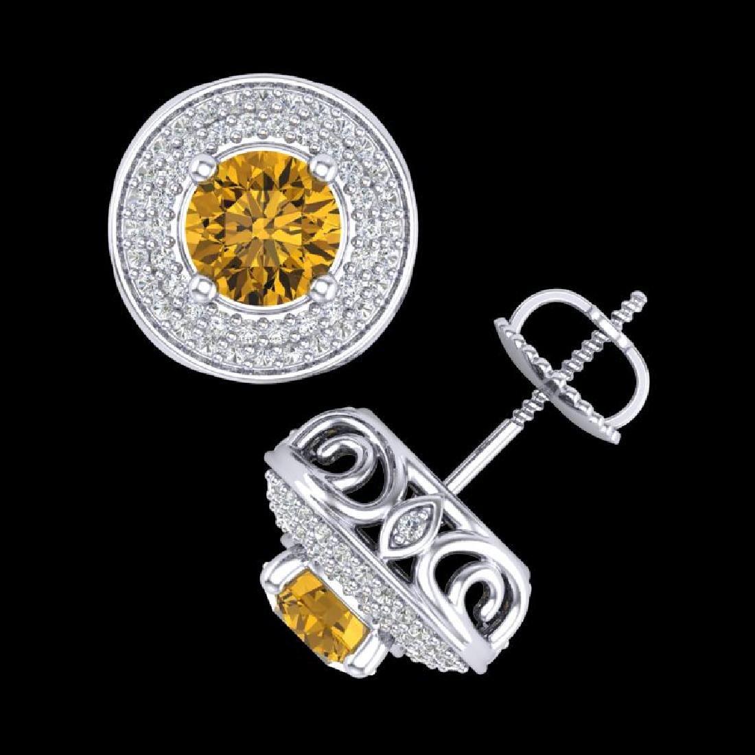 2.35 CTW Intense Fancy Yellow Diamond Art Deco Stud - 3