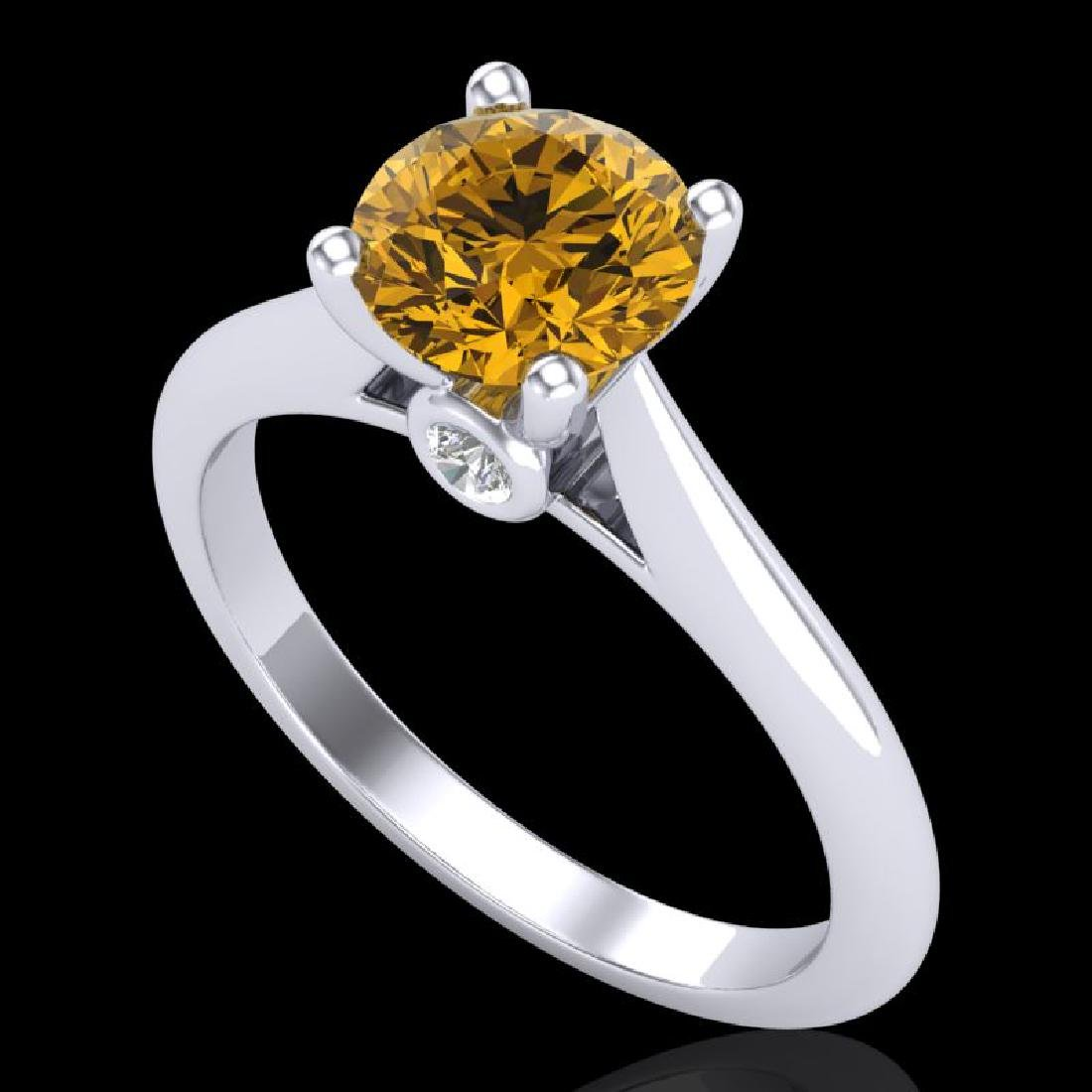 1.36 CTW Intense Fancy Yellow Diamond Engagement Art