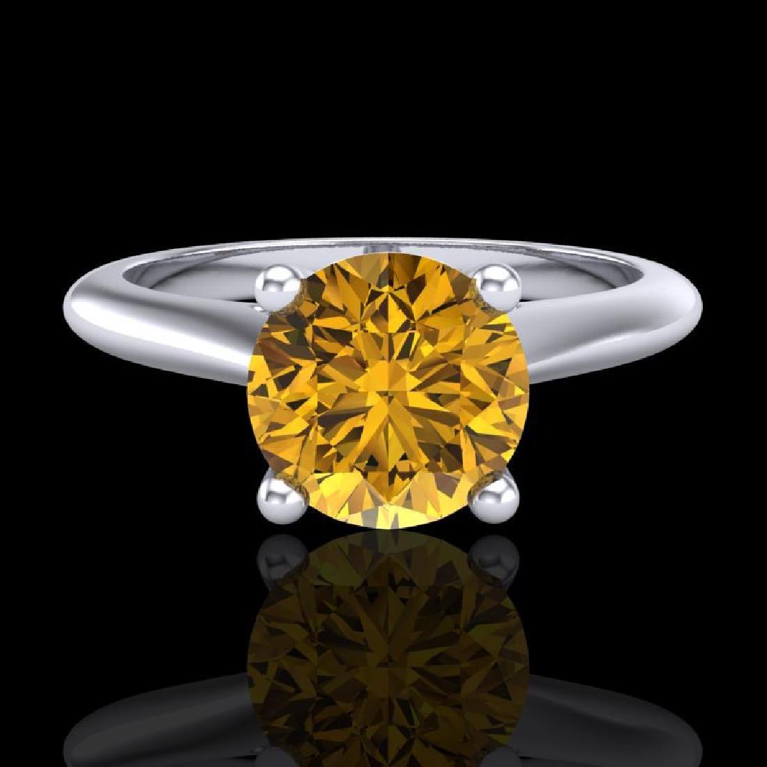 1.36 CTW Intense Fancy Yellow Diamond Engagement Art - 2