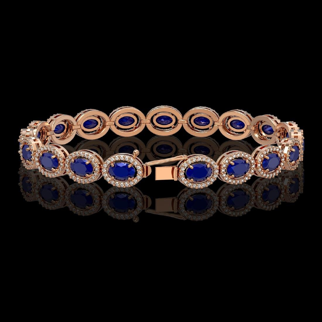15.2 CTW Sapphire & Diamond Halo Bracelet 10K Rose Gold - 2