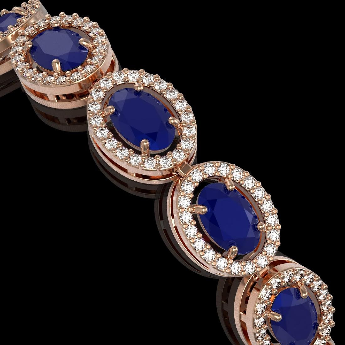 15.2 CTW Sapphire & Diamond Halo Bracelet 10K Rose Gold - 3