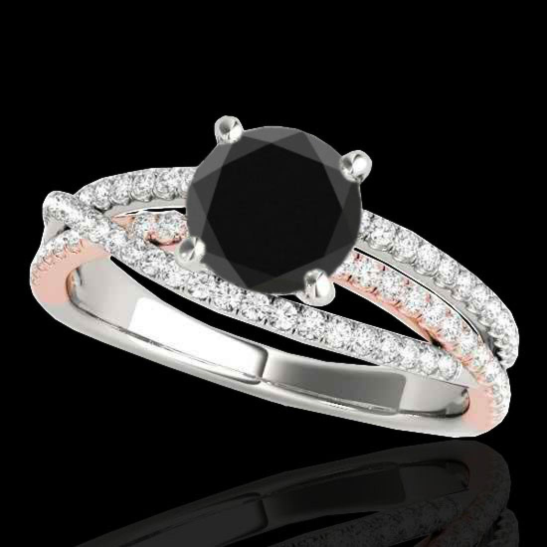 1.4 CTW Certified VS Black Diamond Solitaire Ring 10K