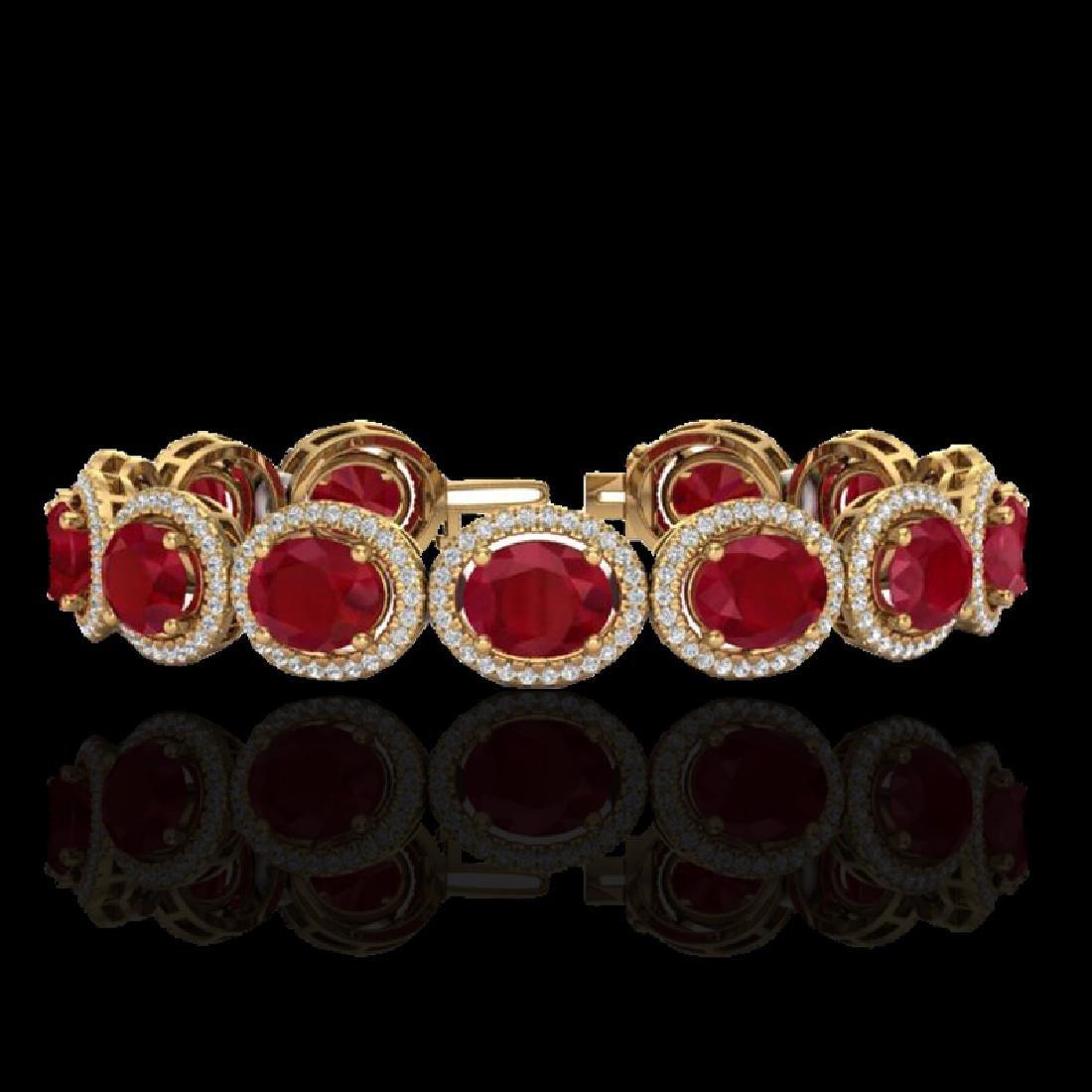 30 CTW Ruby & Micro Pave VS/SI Diamond Bracelet 10K