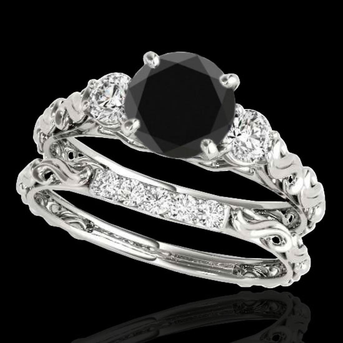 1.35 CTW Certified VS Black Diamond 3 Stone Set 10K