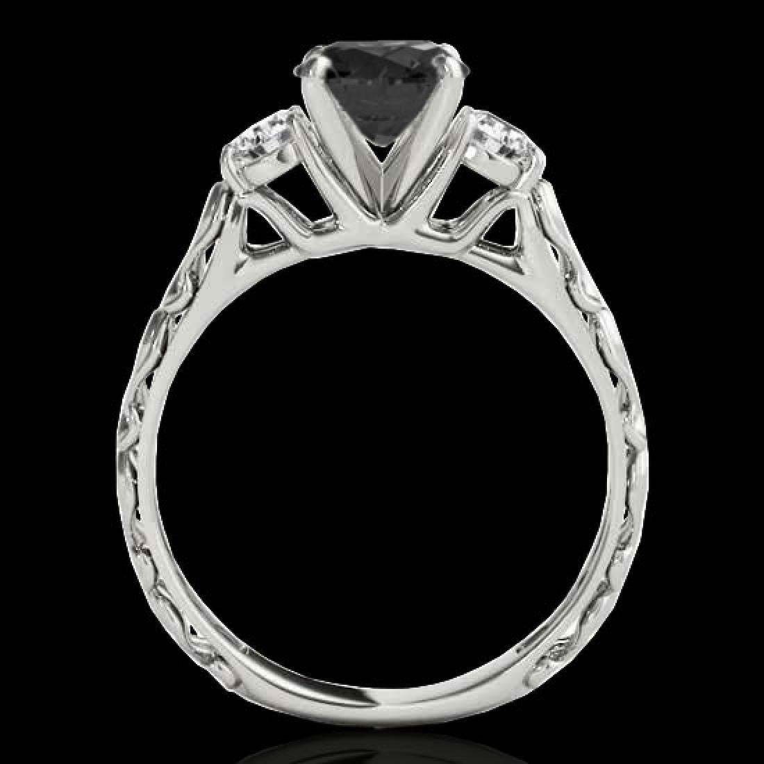 1.35 CTW Certified VS Black Diamond 3 Stone Set 10K - 2