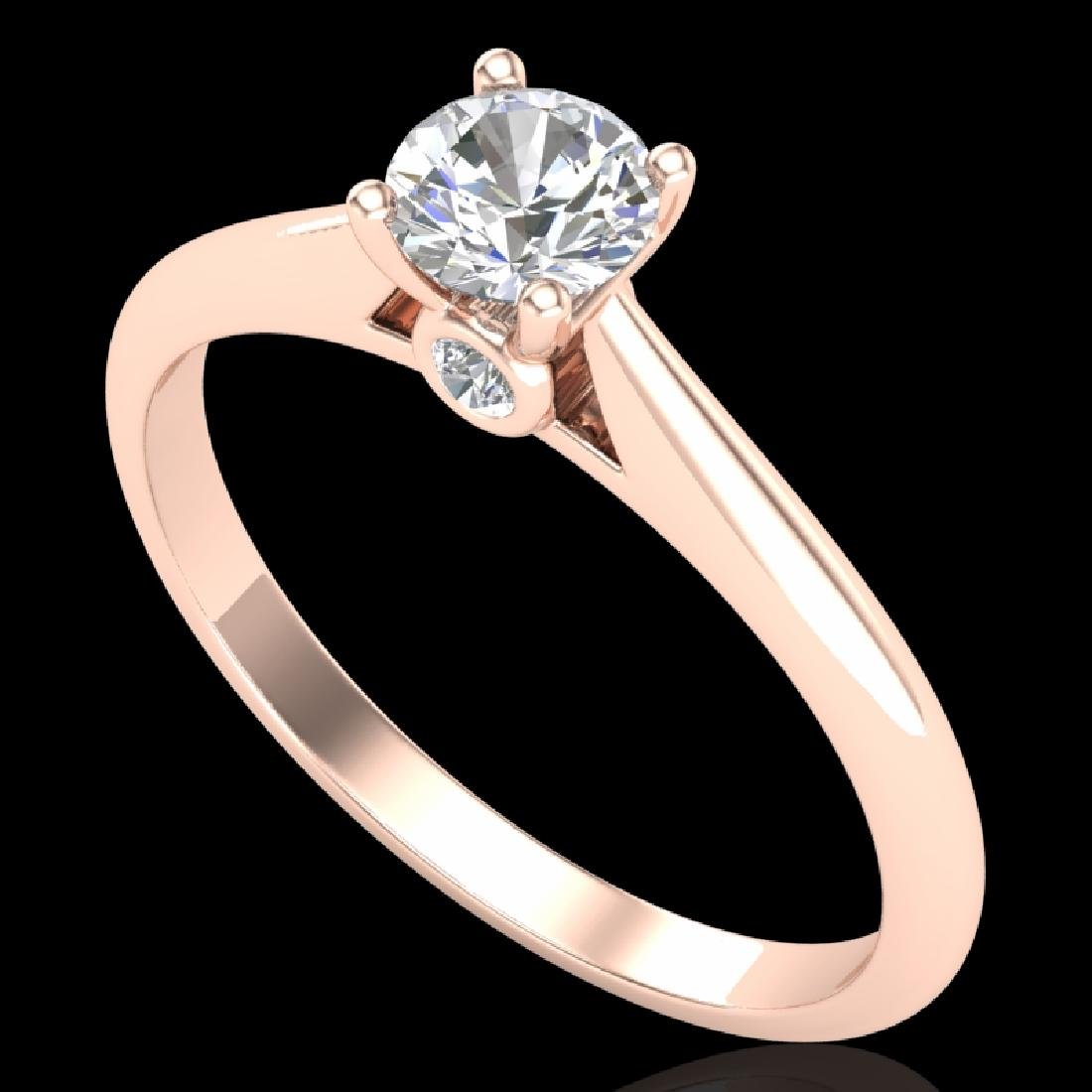 0.4 CTW VS/SI Diamond Solitaire Art Deco Ring 18K Rose