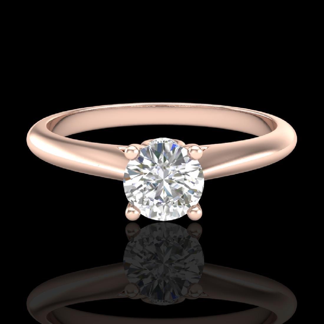 0.4 CTW VS/SI Diamond Solitaire Art Deco Ring 18K Rose - 2