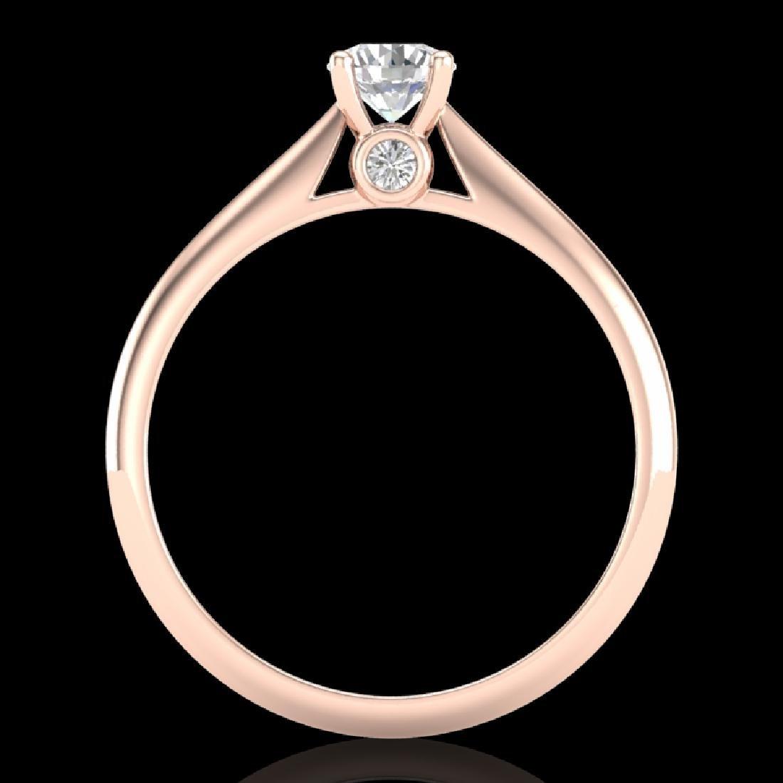 0.4 CTW VS/SI Diamond Solitaire Art Deco Ring 18K Rose - 3