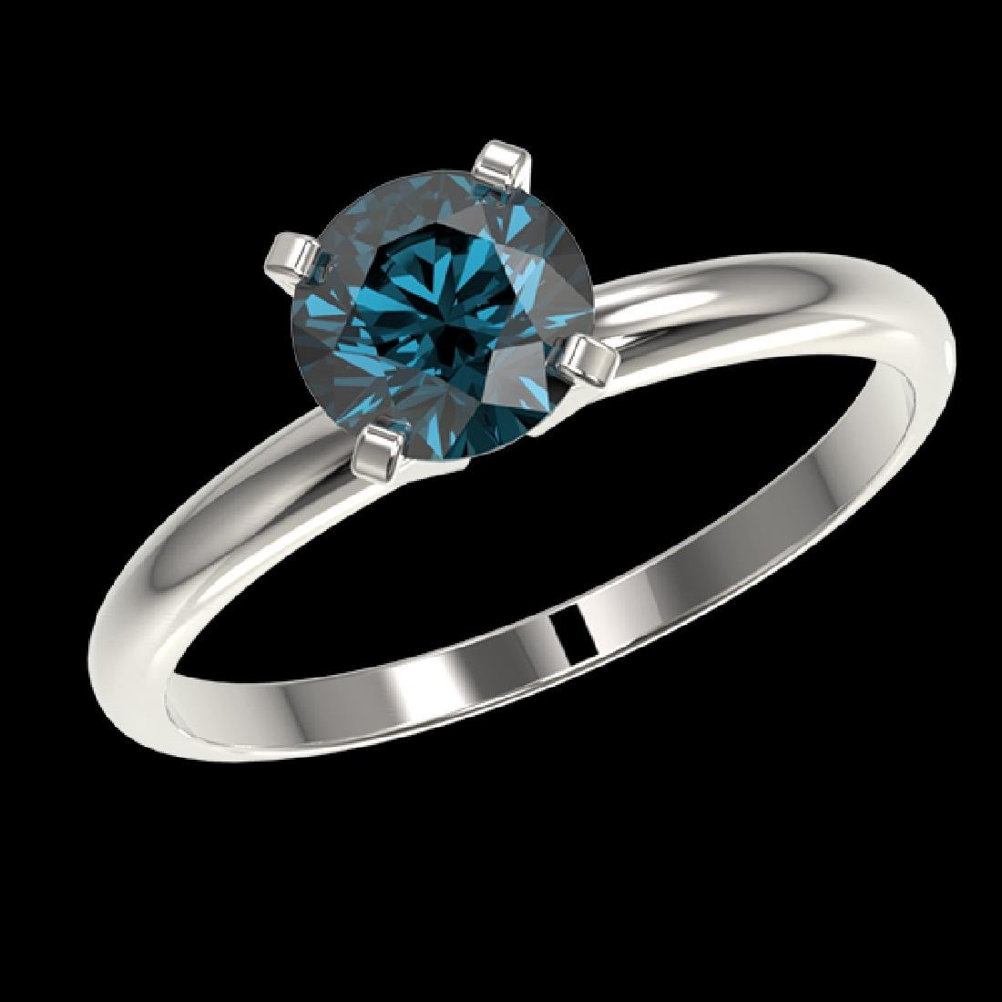 1 CTW Certified Intense Blue SI Diamond Solitaire - 2