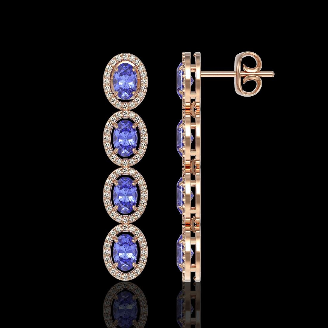 6.09 CTW Tanzanite & Diamond Halo Earrings 10K Rose - 2