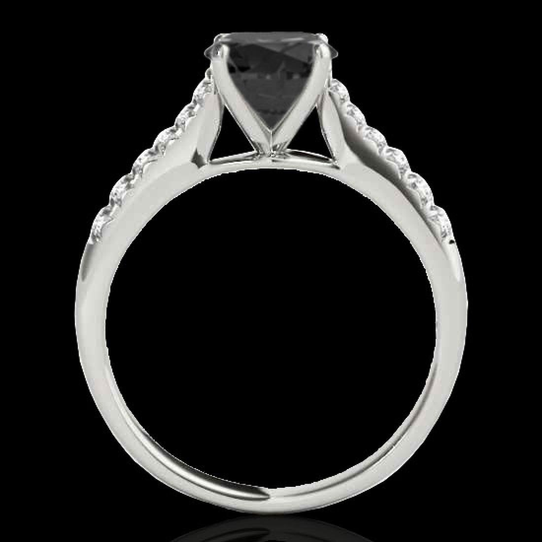 1.25 CTW Certified VS Black Diamond Solitaire Ring 10K - 2