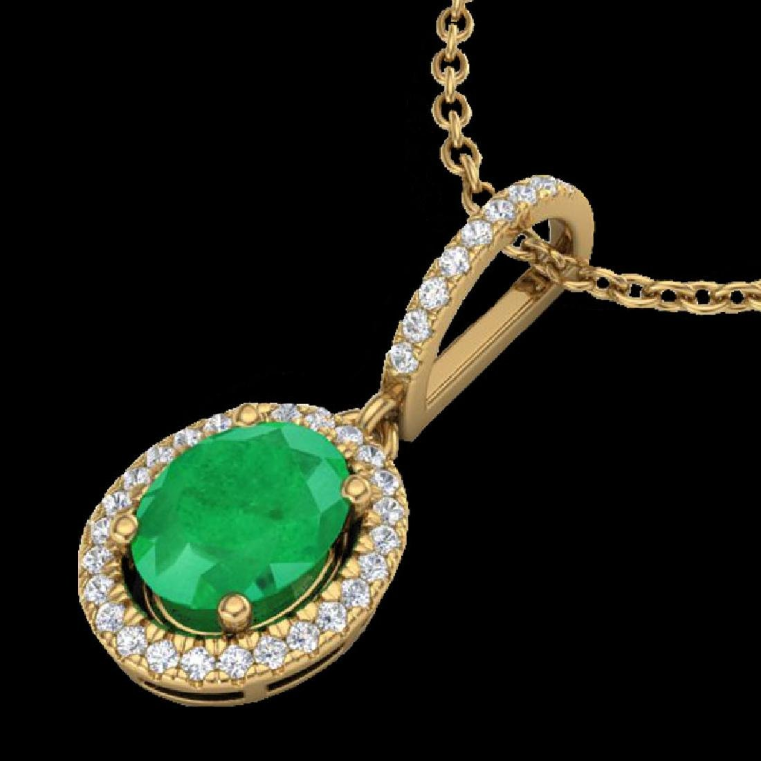 2 CTW Emerald & Micro Pave VS/SI Diamond Necklace - 2
