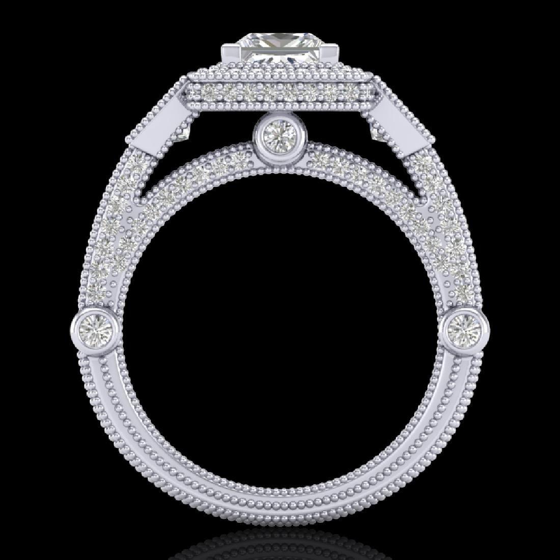 3 CTW Princess VS/SI Diamond Solitaire Art Deco 3 Stone